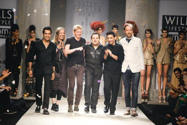 Rahul Khanna (from left), Marieke Holthuis, Diederik Verbakel, Rohit Gandhi, Suneet Varma and Jan Taminiau at the Indo-Dutch show in October